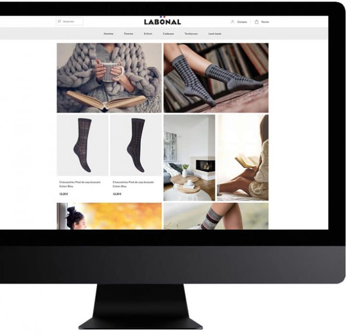 page web ecommerce enrichie très visuelle